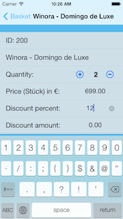 Change position quantity, price or discounts directly in the cart